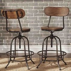 Berwick Iron Industrial Adjustable Counter Height High Back Stools by TRIBECCA HOME (Set of 2) - Free Shipping Today - Overstock.com - 18016299 - Mobile