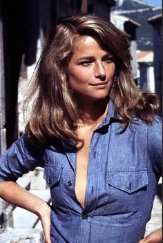 Charlotte Rampling in denim #style  #hair #fashion