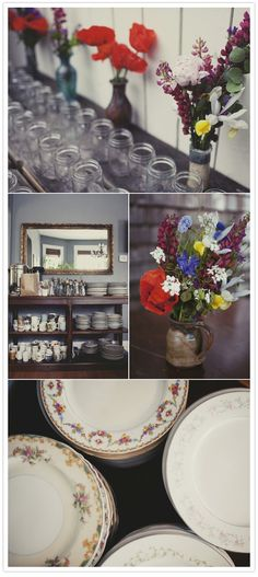 I love the eclectic look of mismatched stuff....This couple collected all their plates from Goodwill and Value Village:) Love it.