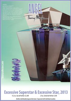 Collector's guide to Value of Thierry Mugler Angel Perfume Bottles limited edition Collecting Angel Parfum, Angel Fragrance, Thierry Mugler Angel Perfume, Thierry Mugler Alien, The Collector, Perfume Bottles, Lotions, Fragrances, Vases