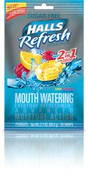 """HALLS brand """"refresh"""" drops help with dry mouth, a common side effect from many pain medications. This can lead to tooth decay and other oral issues, and these products can help mitigate those side effects!"""