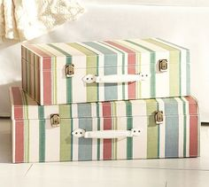 Striped Decorative Luggage - I would like to try this on a few of my vintage suitcases.