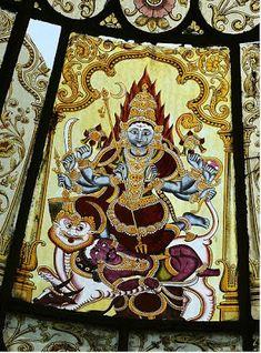 Glass painting of Sri Chamundeshwari in Mysore Amba Vilas palace Mysore Painting, Kerala Mural Painting, Tanjore Painting, Traditional Paintings, Traditional Art, Apocalypse Art, Renaissance Paintings, Indian Gods, Indian Paintings
