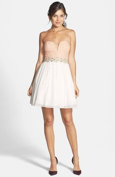 Way-In Lace V Detail Dress (Juniors) available at #Nordstrom