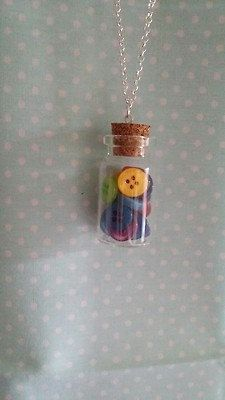 Miniature Buttons Glass Bottle Necklace