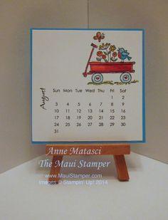 August 2014 DIY Easel Calendar:  For the Birds | The Maui Stamper