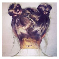 Try out the rising hair trend Space Buns this spring break! ❤ liked on Polyvore featuring beauty products, haircare, hair and beauty
