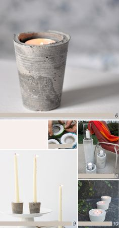 Avec du ciment et un gobelet en plastique Cement Crafts, Concrete Projects, Art Projects, Diy Origami, Diy Recycle, Weekend Projects, Candle Making, Diy Gifts, Diy And Crafts