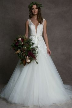 Lace ballgown with plunging neckline and full tulle skirt available off-the-rack at Silk Bridal Studio. Bridal Gowns, Wedding Gowns, Bridals By Lori, Matthew Christopher, Allure Couture, Eve Of Milady, Tuxedo Wedding, Bridal Salon, Yes To The Dress