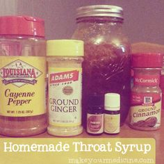 Homemade throat syrup. 1/4 cup raw local honey (antibacterial and soothing) 1/4 tsp cayenne pepper (SO many benefits and pain blocker...