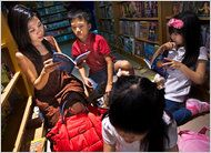 from NYTimes.com: Indonesians' Focus on Language Is Often English // (The prestige of English in Indonesia has sadly led to the devaluing of the native language, to the point that some Indonesian children struggle to understand and speak the national language and communicate with their grandparents.)