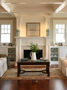 39 Cozy Fireplace Decor Ideas For White Walls Fireplace Shelves, Fireplace Built Ins, Home Fireplace, Fireplace Surrounds, Fireplace Design, Fireplace Windows, Fireplace Cover, Fireplace Mirror, Faux Fireplace