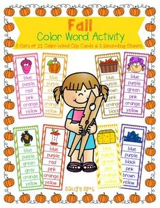 Fall Color Word Activity8 Sets of 11 Color Word Clip Cards & 2 Recording Sheets There are 8 sets of 11 color word cards in this set and 2 recording sheets. The words used are green, blue, yellow, red, orange, purple, pink, white, brown, black, and gray. Print the cards on cardstock and laminate ... Blue Yellow, Pink White, Orange, Purple, Color Word Activities, Recording Sheets, Autumn Theme, Card Stock, Gray