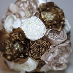Satin Fabric Flower Bouquet in Champagne