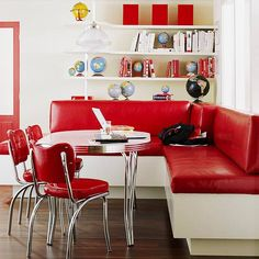 Enjoy a stylish blast from the past with our collection of retro kitchen design ideas. We've gathered our favorite vintage kitchen decor, nostalgic color schemes, and designs dedicated to a bygone era. Kitchen Banquette, Kitchen Nook, Red Kitchen, Kitchen Dining, Kitchen Decor, Kitchen Ideas, Dining Area, Banquette Seating, Small Dining