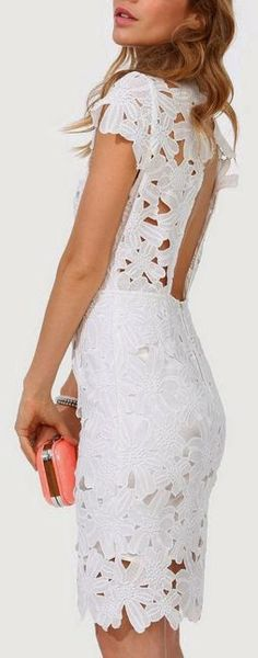This could even work as a wedding dress for a beach wedding - White Floral Lace Dress