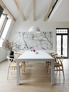 Ted Anya. Haus Freiburg. Dining Room. Neutral. Wood. White. Art. Beams. Exposed. Loft. Home. Decor. Design. Interior. Modern.
