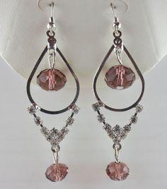 MACY'S Amethyst Glass Bead Rhinestone Earrings NEW in Leatherette Jewelry Box #Macys #Dangling