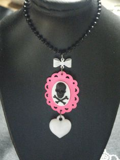 Pink Lolita white and black skull cameo with puffy by indieodyssey, $8.50