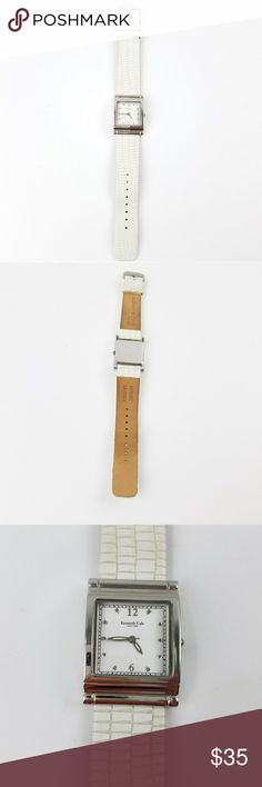 Kenneth Cole White Leather Reptile Embossed Watch ✴20% OFF BUNDLES OF 3 OR MORE✴ Brand new battery Running great! White leather band with reptile pattern Stainless steel Water resistant  Japan movement Very good gently used condition - some minor discoloration to band  PLEASE READ CLOSET INFO AND POLICIES POST Kenneth Cole Accessories Watches