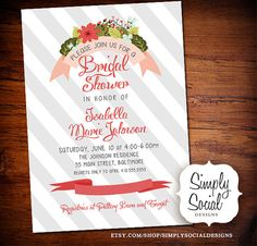 Floral and Stripes Bridal Shower Invitation with Grey Pink and Green