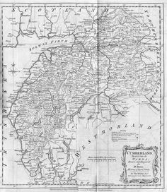 Kitchin's Map of Cumberland 1777 (From Nicholson & Butn) Old Maps, Cumbria, Posters, History, Gallery, Illustration, Prints, Pictures, Antique Maps
