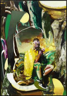 Adrian Ghenie (roumain, b. 1977), Tabagisme Self-Portrait, 2015. Huile sur toile, 230 x 160 cm.