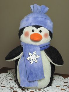 Penguin pattern: My First Winter 621 by adelinescrafts on Etsy Sock Crafts, Preschool Crafts, Christmas Snowman, Christmas Stockings, Sock Snowman, Snowmen, Christmas Crafts For Kids To Make, Fabric Animals, Camping Crafts