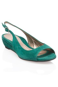 Dana Davis - Shayla Leather Slingbacks in Emerald
