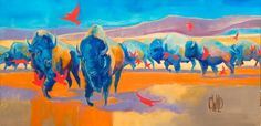 Migration - American Bison | Carrie Wild Fine Art - Contemporary Wildlife Painting