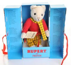 """9.5"""" plush Rupert Bear toy in gift box, United Kingdom, 1995, by Merrythought. Originally intended to be a limited edition of 10,000 pieces, the production run was cut short due to a licensing disagreement, with no precise number ever given for those made./"""