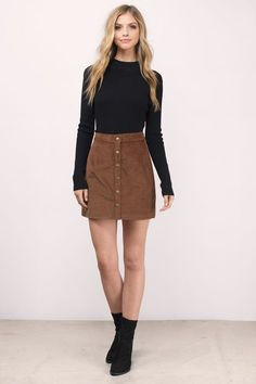 Ilyn Cord A-Line Rock - Outfit - - outfits - Jupe A Line Skirt Outfits, Rock Outfits, A Line Skirts, Stylish Outfits, Fall Outfits, Mini Skirts, Cute Outfits With Skirts, Tight Skirt Outfit, Pencil Skirts