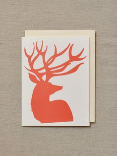 Red Deer blank notecard - holiday. $4.00, via Etsy.