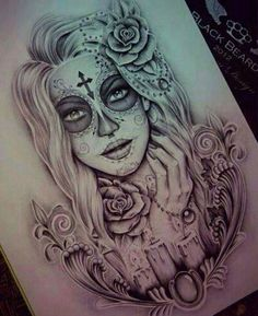 Day of the dead drawing. Great design! | Tattoo Ideas | Pinterest