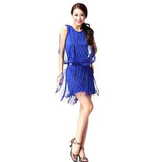 Dancewear Cotton and Polyester with Tassels Latin Dance Top and Bottom For Ladies More Colors – USD $ 26.09