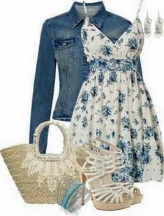 Dress is very nice, I like the neck line and straps. Not a fan of the Denim jacket or purse. Love the blue theme