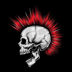 skull punk red hair vector - Buy this stock vector and explore similar vectors at Adobe Stock Android Wallpaper Dark, Skull Wallpaper, Goth Art, Punk Art, Naruto Sketch Drawing, Cross With Wings, Crane, Arte Punk, Cadeau Design