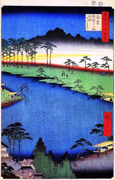 Hiroshige - One Hundred Famous Views of Edo - 64. The Junitori  Kumano Shrines at Tsunohazu