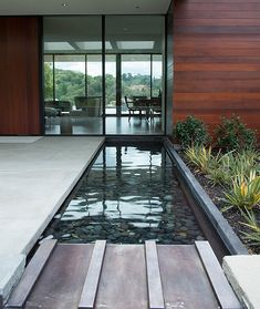 SImple and stylish water feature mirrors the contemporary glass facade beautifully - Decoist