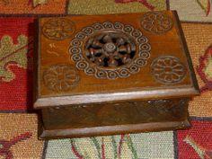 Sold= French Breton Quimper? Wood Carved Trinket Card Box Holder - Open Spindle