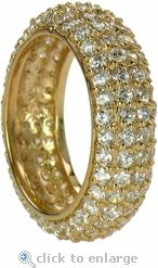 Cubic Zirconia Pave Eternoty Band In 14 K Yellow Gold by Ziamond.  The Phoenix Eternity Band is also available in 14k white gold and features a domed design. $1595 #ziamond #cubiczirconia #cz #eternity #band #ring #wedding #jewelry