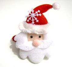 Felt Santa Hair Clip by pinkdotsetc on Etsy, €4.00