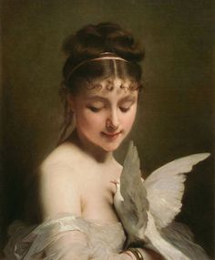 Young Woman with a Dove Classical Paintings by Charles Joshua Chaplin (1825 1891)   I.D. 61