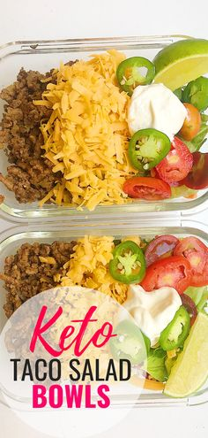 Keto Taco Salad - Easy Keto Ground Beef Easy Keto Recipe for meal prep lunches. This Keto ground beef taco salads are fairly low calorie and very low carb. Part of making a keto friendly taco salad is the homemade taco seasoning and using shredded lettuce Lunch Recipes, Low Carb Recipes, Beef Recipes, Cooking Recipes, Healthy Recipes, Salad Recipes, Cooking Food, Ground Beef Keto Recipes, Keto Lunch Ideas