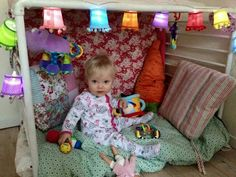 Playpen turned into a cosy den