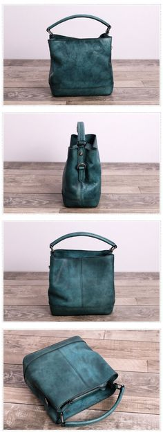 Handmade Genuine Full Grain Leather Messenger Bag Handbag Bucket bag We use genuine cow leather, quality hardware and nylon fabric to make the bag as good as it is. •Adjustable shoulder strap. •Inside
