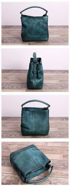Handmade Genuine Full Grain Leather Messenger Bag Handbag Bucket bag We use genuine cow leather, quality hardware and nylon fabric to make the bag as good as it is. •Adjustable shoulder strap. •Inside