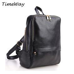 Brand Genuine Leather Backpacks Women Black Casual Real Leather Backpacks Travel Bags Famous Designer Ladies Vintage Backpacks