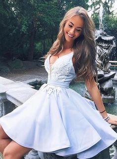 Cute v neck lace short prom dress, homecoming dress, Customized service and Rush order are available