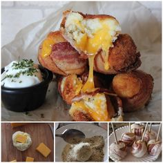 These Cheesy Mash Potato Bacon Bombs are delicious, the edges are a little crisp and inside it's fluffy .   Recipe--> http://wonderfuldiy.com/wonderful-diy-bacon-wrapped-cheesy-mashed-potato-bombs/